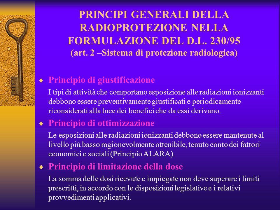 PRINCIPI GENERALI DELLA RADIOPROTEZIONE NELLA FORMULAZIONE DEL D. L