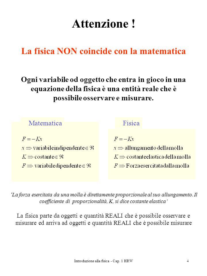 Attenzione ! La fisica NON coincide con la matematica
