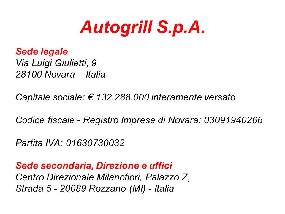 Autogrill S.p.A. Sede legale Via Luigi Giulietti, 9
