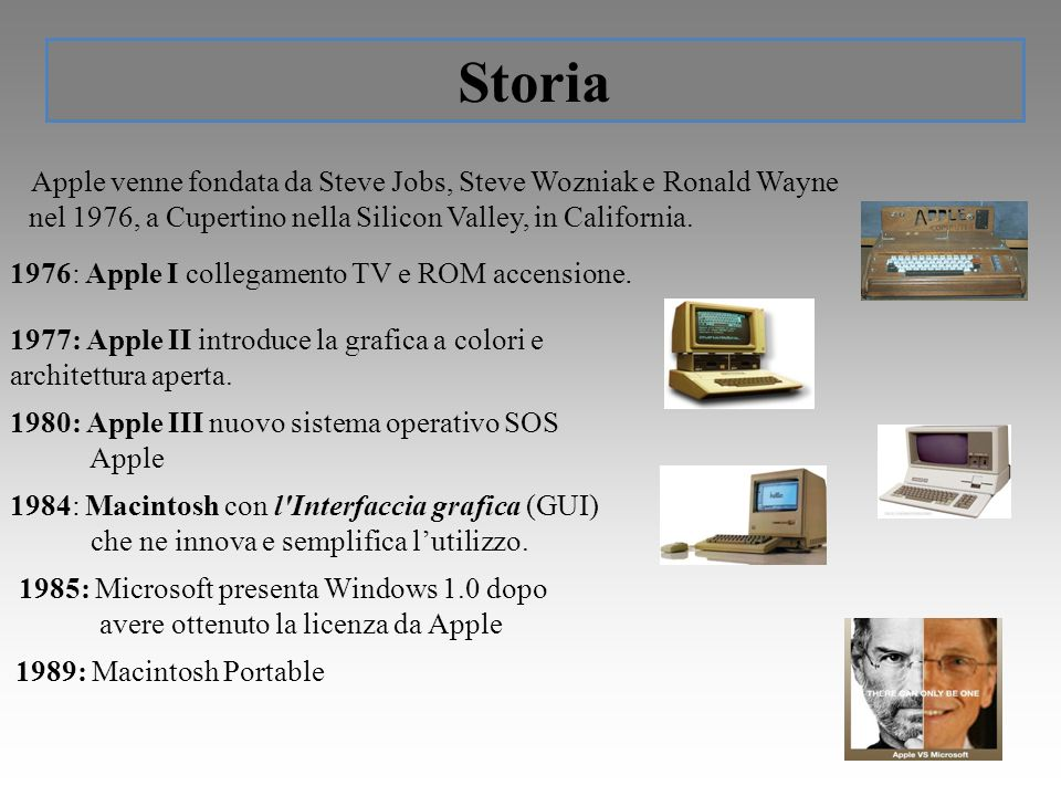 Storia Apple venne fondata da Steve Jobs, Steve Wozniak e Ronald Wayne