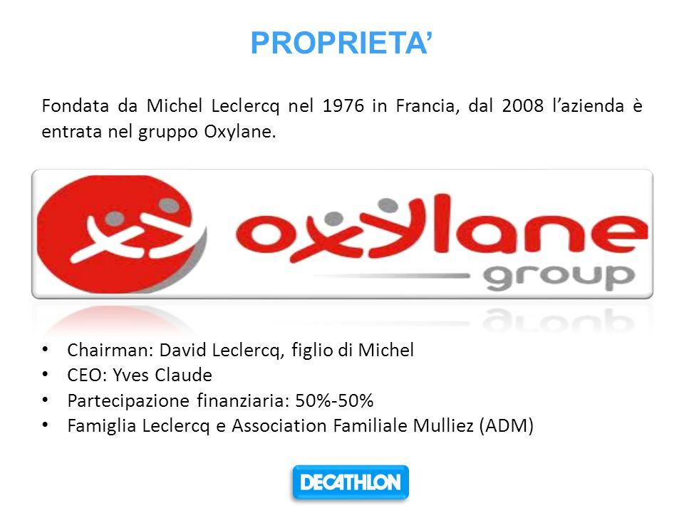 PROPRIETA' Fondata da Michel Leclercq nel 1976 in Francia, dal 2008 l'azienda è entrata nel gruppo Oxylane.
