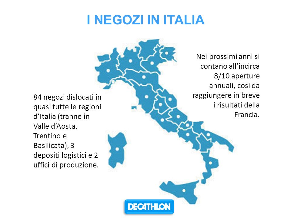 I NEGOZI IN ITALIA Nei prossimi anni si contano all'incirca 8/10 aperture annuali, cosi da raggiungere in breve i risultati della Francia.