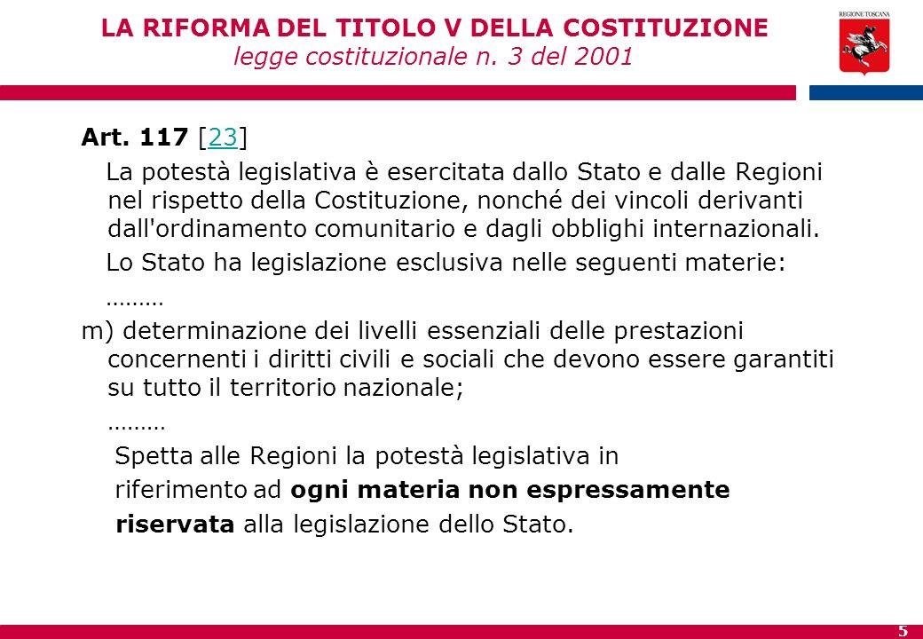 LA RIFORMA DEL TITOLO V DELLA COSTITUZIONE legge costituzionale n
