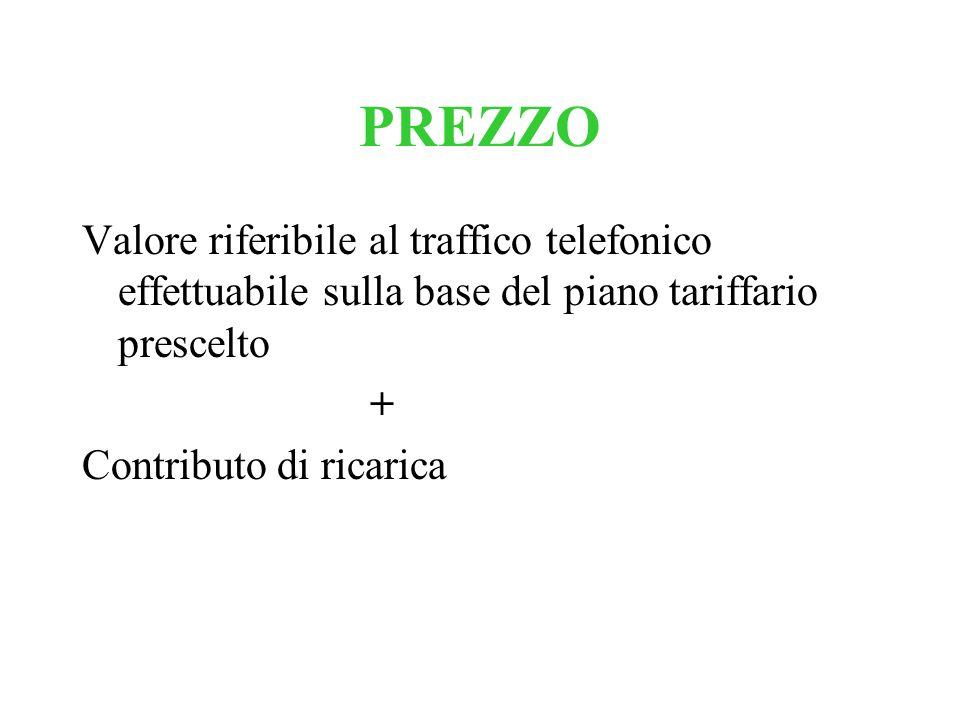 PREZZO Valore riferibile al traffico telefonico effettuabile sulla base del piano tariffario prescelto.