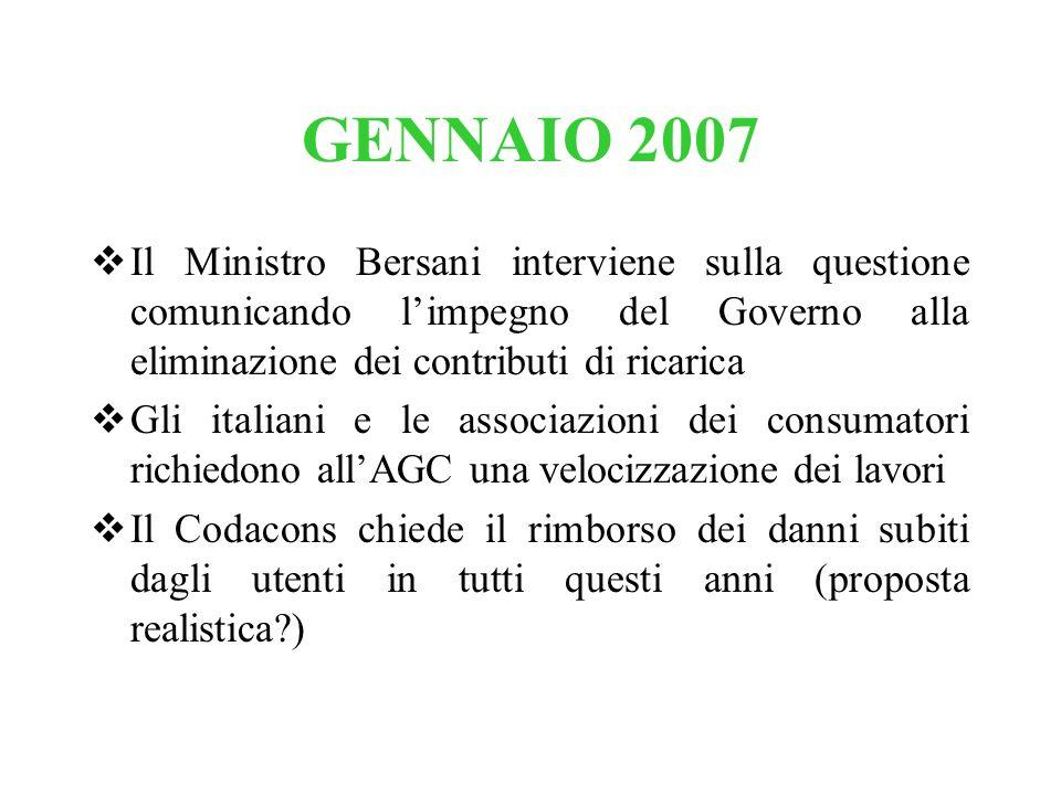 GENNAIO 2007 Il Ministro Bersani interviene sulla questione comunicando l'impegno del Governo alla eliminazione dei contributi di ricarica.