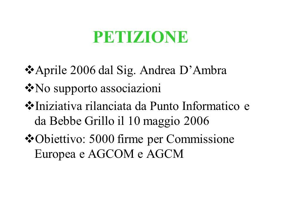 PETIZIONE Aprile 2006 dal Sig. Andrea D'Ambra No supporto associazioni