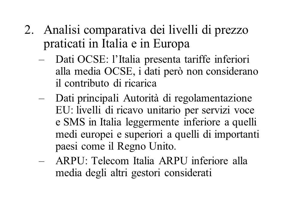 Analisi comparativa dei livelli di prezzo praticati in Italia e in Europa