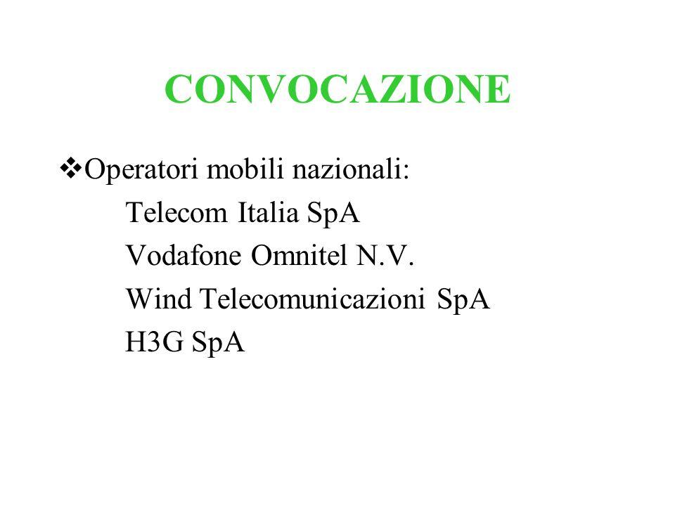 CONVOCAZIONE Operatori mobili nazionali: Telecom Italia SpA