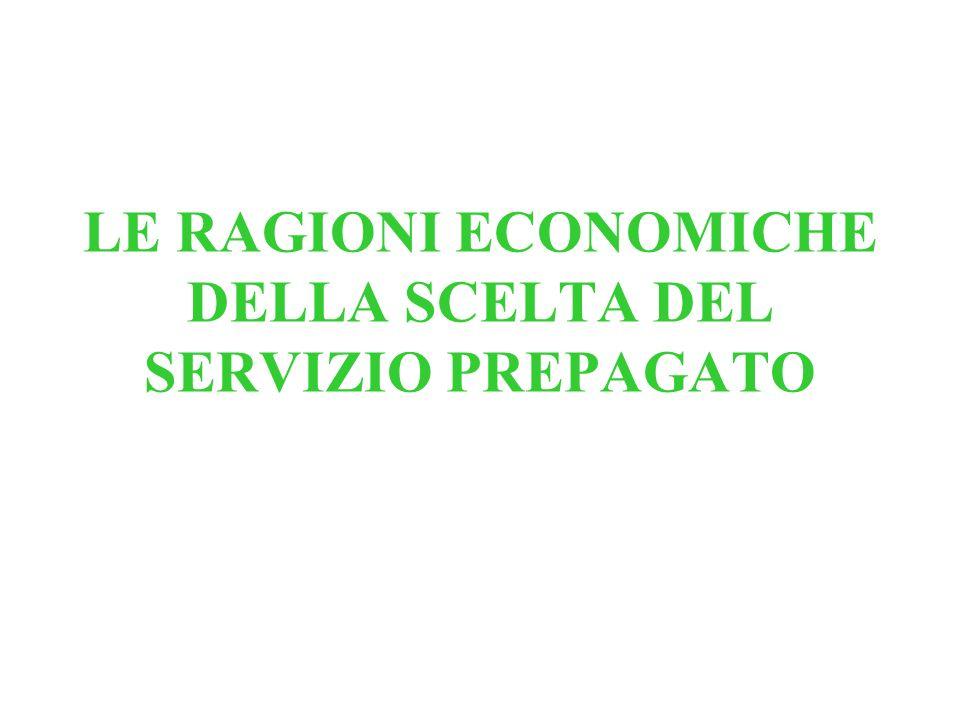 LE RAGIONI ECONOMICHE DELLA SCELTA DEL SERVIZIO PREPAGATO