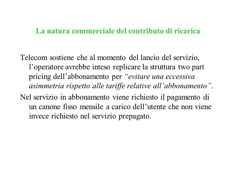La natura commerciale del contributo di ricarica