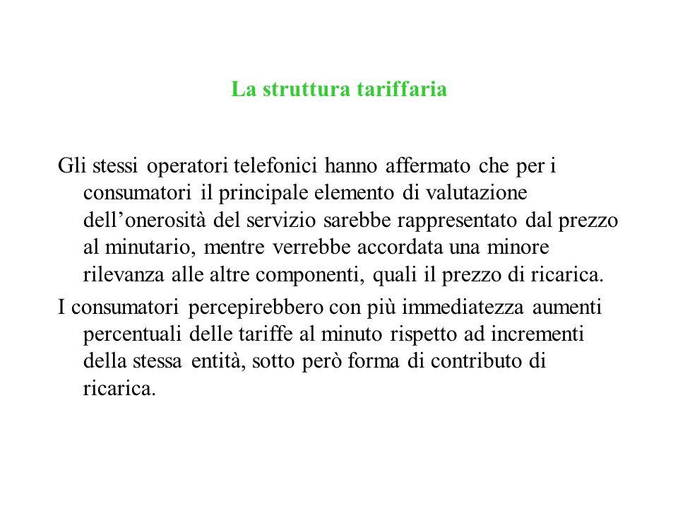 La struttura tariffaria