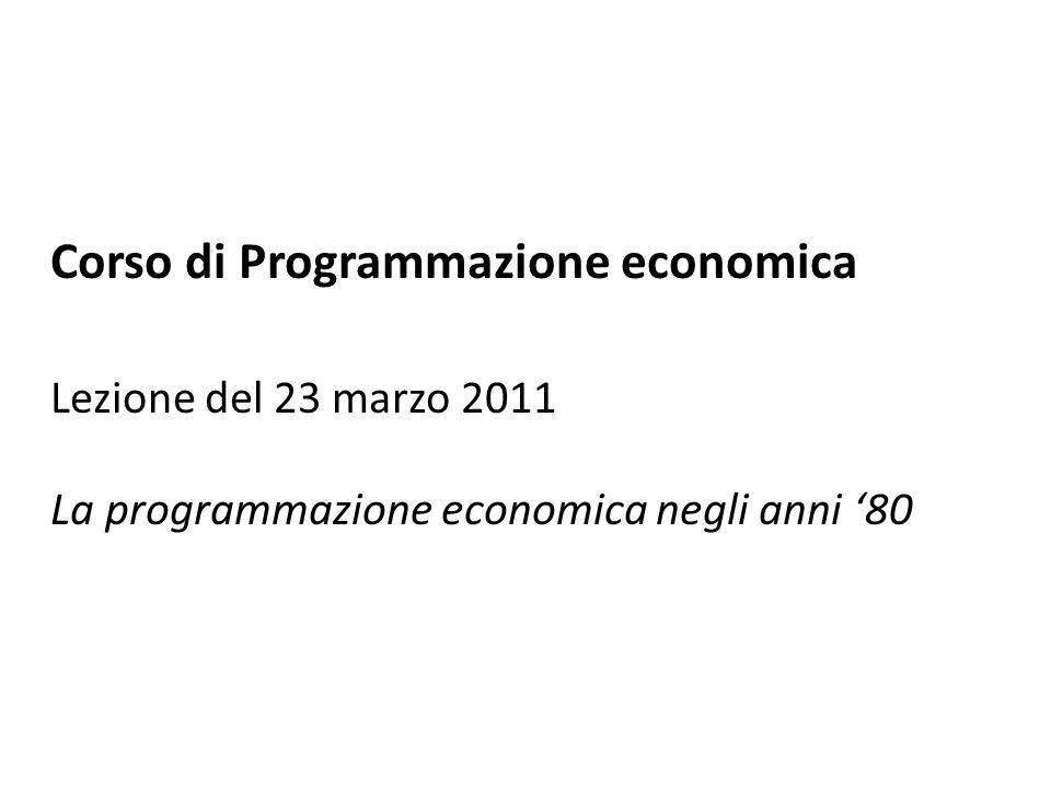 Corso di Programmazione economica Lezione del 23 marzo 2011 La programmazione economica negli anni '80