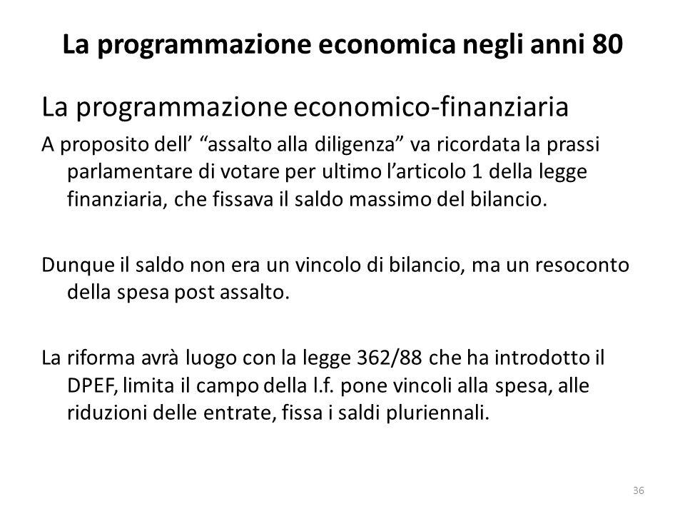 La programmazione economica negli anni 80