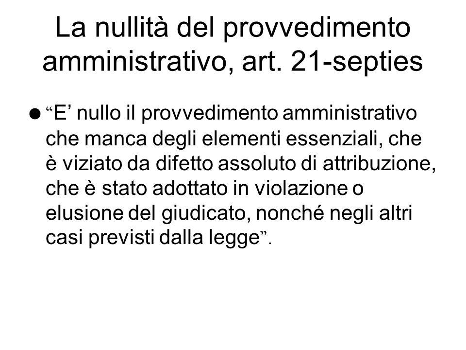 La nullità del provvedimento amministrativo, art. 21-septies