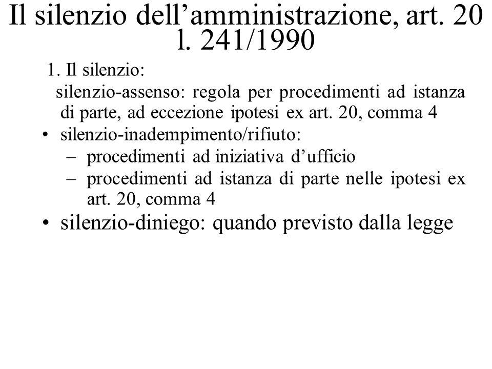 Il silenzio dell'amministrazione, art. 20 l. 241/1990