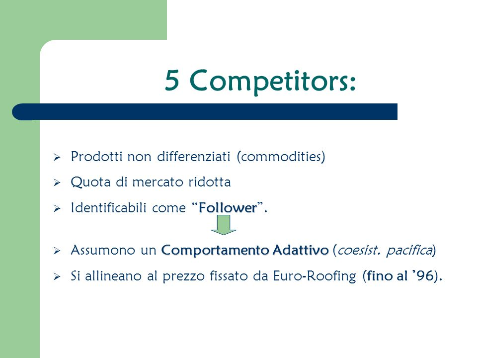 5 Competitors: Prodotti non differenziati (commodities)