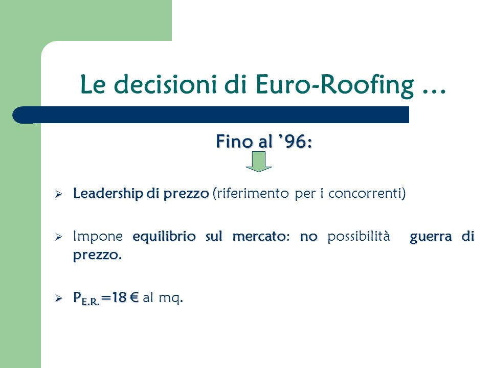Le decisioni di Euro-Roofing …