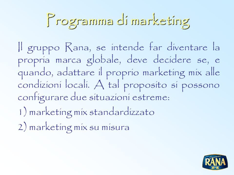 Programma di marketing