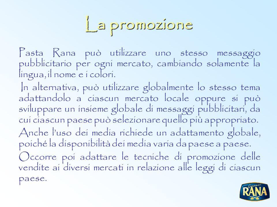 La promozione Pasta Rana può utilizzare uno stesso messaggio pubblicitario per ogni mercato, cambiando solamente la lingua, il nome e i colori.