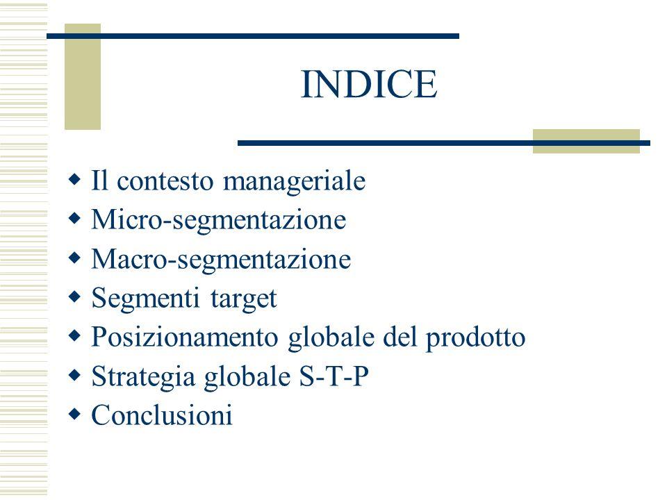 INDICE Il contesto manageriale Micro-segmentazione Macro-segmentazione