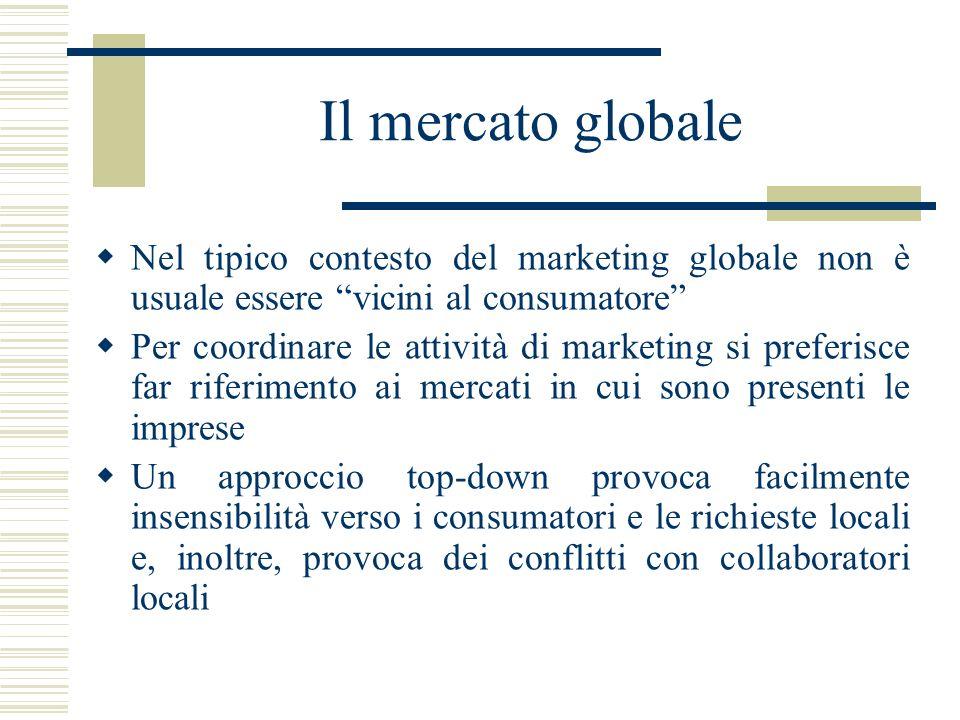 Il mercato globale Nel tipico contesto del marketing globale non è usuale essere vicini al consumatore