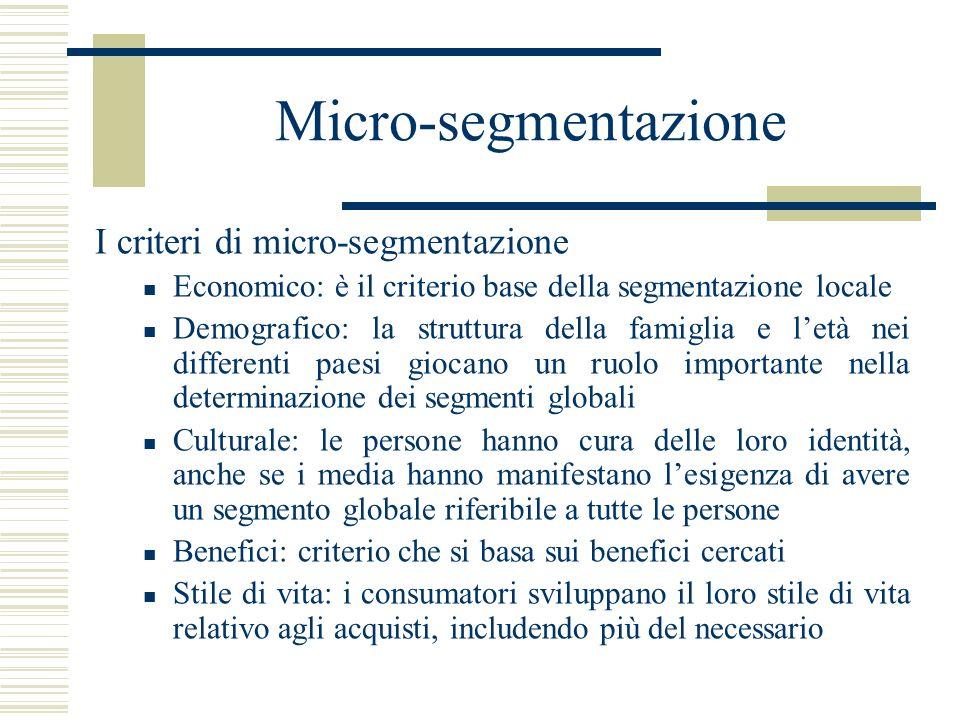 Micro-segmentazione I criteri di micro-segmentazione