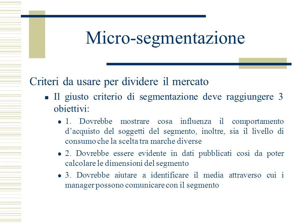 Micro-segmentazione Criteri da usare per dividere il mercato