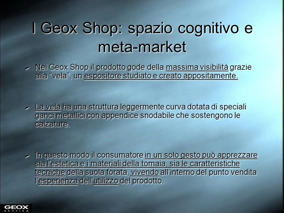 I Geox Shop: spazio cognitivo e meta-market
