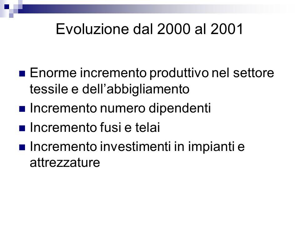 Evoluzione dal 2000 al 2001 Enorme incremento produttivo nel settore tessile e dell'abbigliamento. Incremento numero dipendenti.
