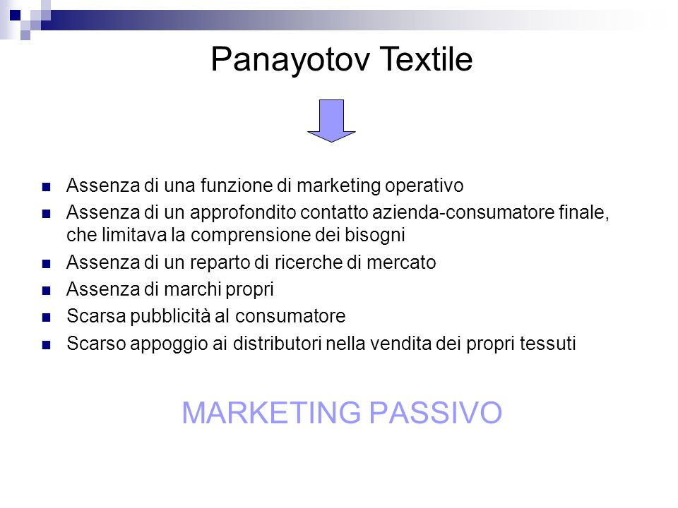 Panayotov Textile MARKETING PASSIVO