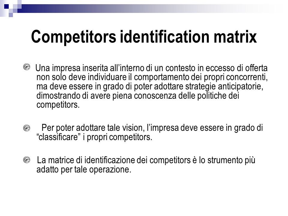 Competitors identification matrix