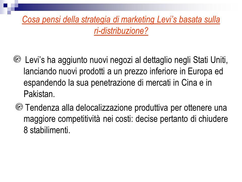 Cosa pensi della strategia di marketing Levi's basata sulla ri-distribuzione