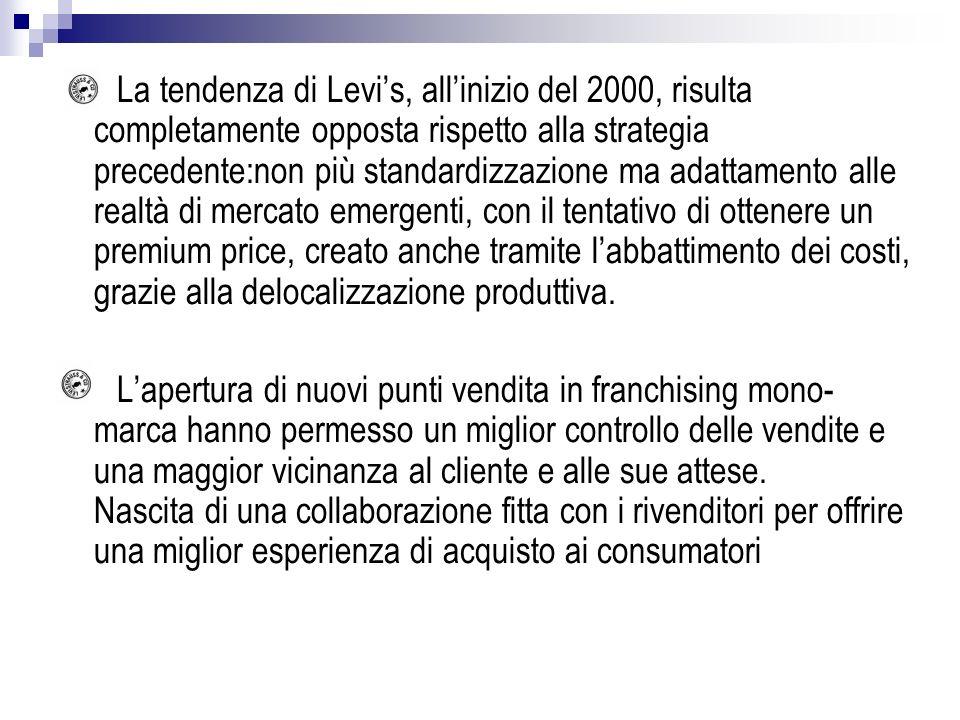 La tendenza di Levi's, all'inizio del 2000, risulta completamente opposta rispetto alla strategia precedente:non più standardizzazione ma adattamento alle realtà di mercato emergenti, con il tentativo di ottenere un premium price, creato anche tramite l'abbattimento dei costi, grazie alla delocalizzazione produttiva.