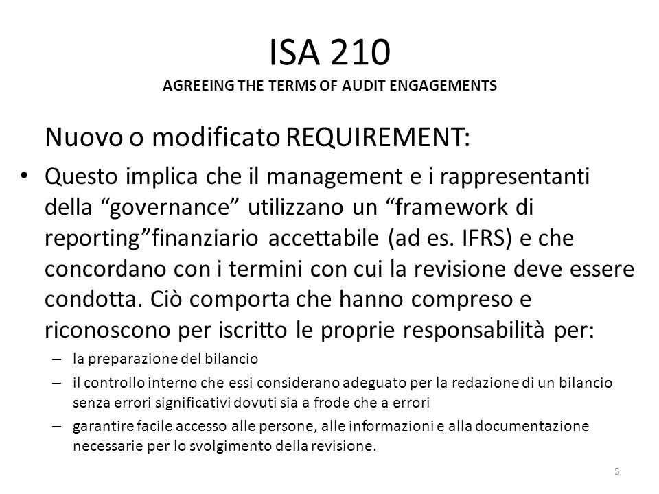 ISA 210 AGREEING THE TERMS OF AUDIT ENGAGEMENTS
