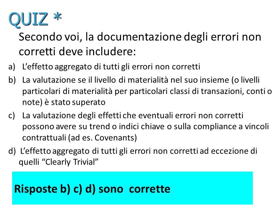 QUIZ * Secondo voi, la documentazione degli errori non corretti deve includere: L'effetto aggregato di tutti gli errori non corretti.