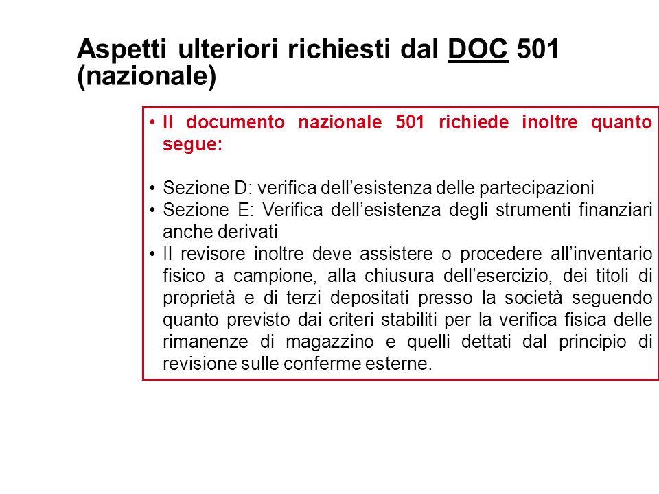 Aspetti ulteriori richiesti dal DOC 501 (nazionale)