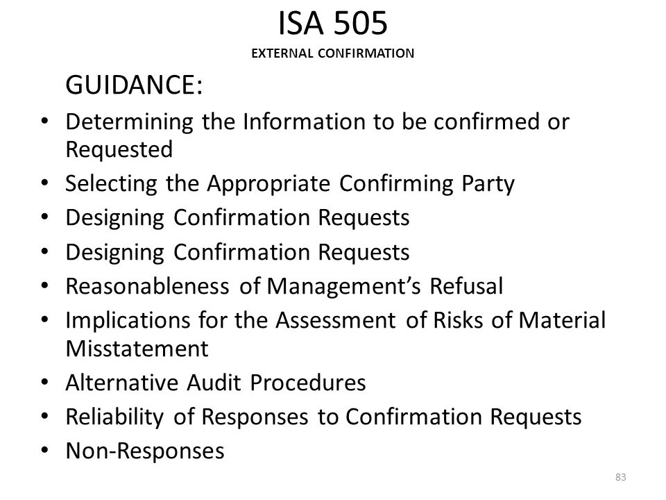 ISA 505 EXTERNAL CONFIRMATION