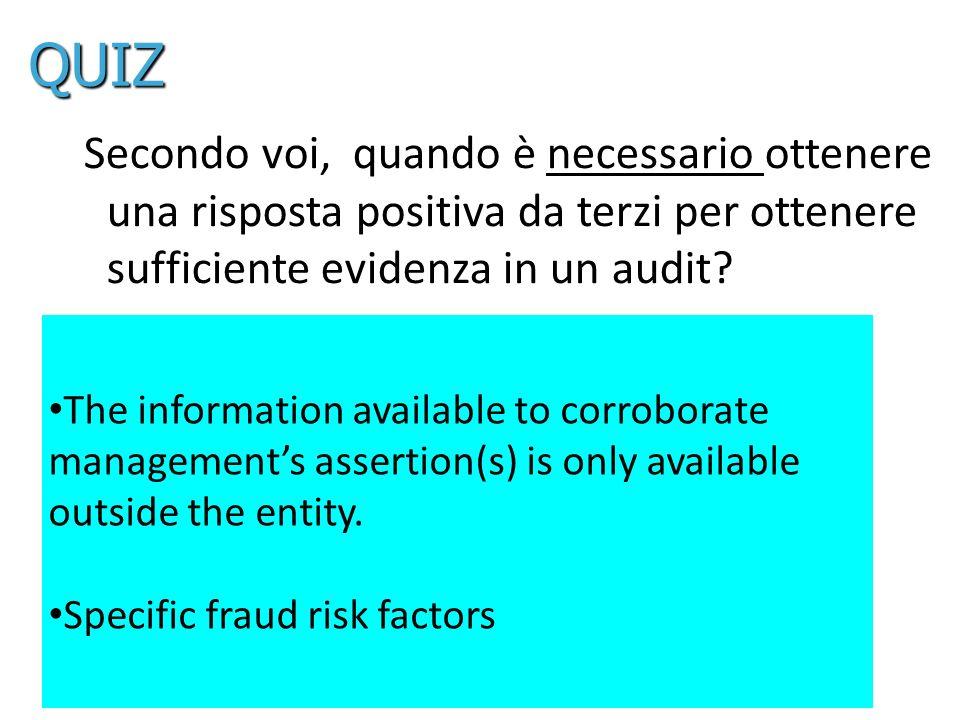 QUIZ Secondo voi, quando è necessario ottenere una risposta positiva da terzi per ottenere sufficiente evidenza in un audit