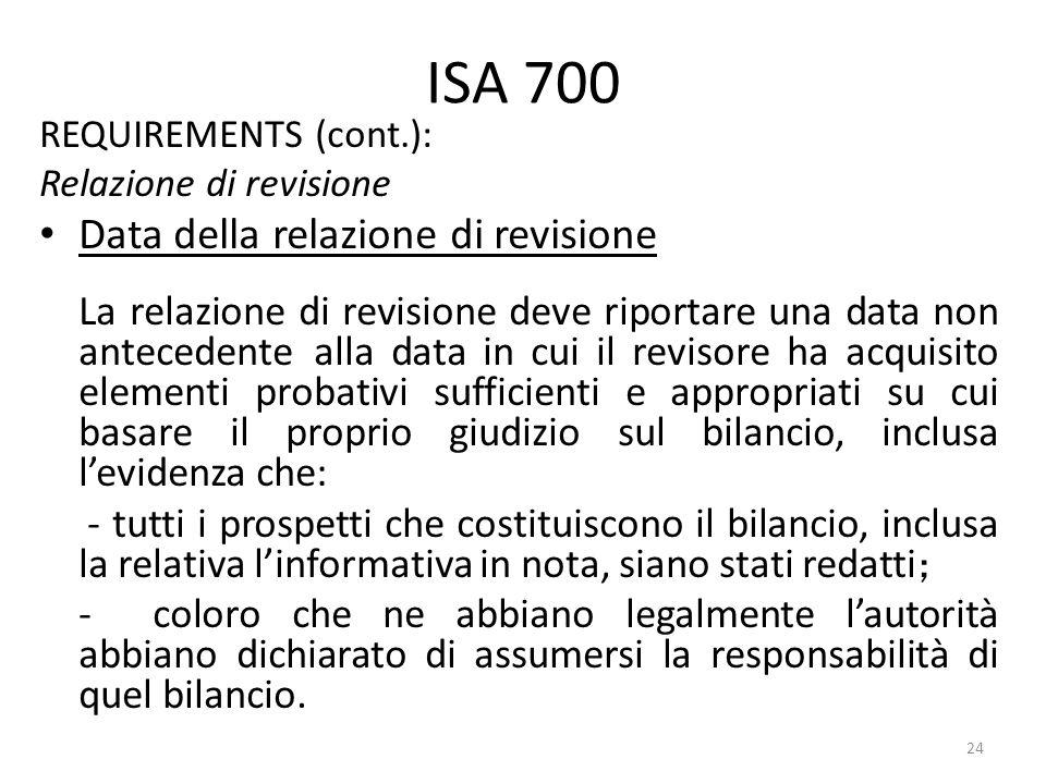 ISA 700 Data della relazione di revisione