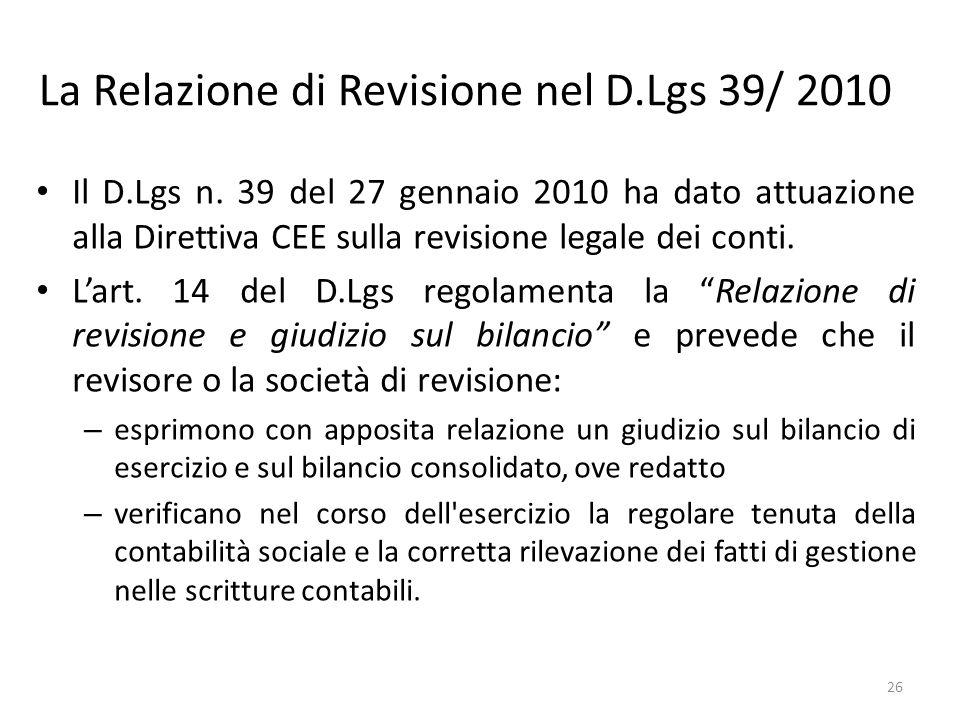 La Relazione di Revisione nel D.Lgs 39/ 2010