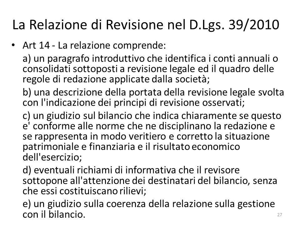 La Relazione di Revisione nel D.Lgs. 39/2010