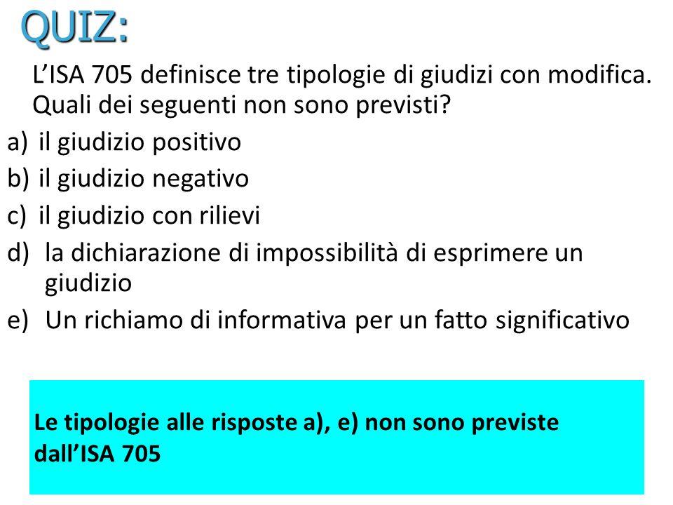 QUIZ: L'ISA 705 definisce tre tipologie di giudizi con modifica. Quali dei seguenti non sono previsti