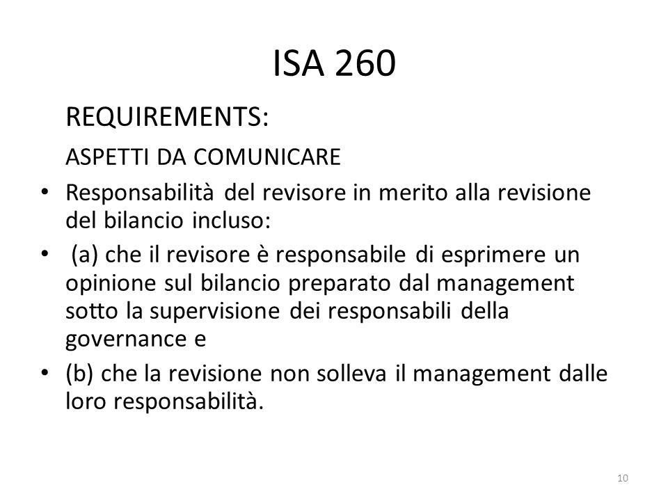 ISA 260 REQUIREMENTS: ASPETTI DA COMUNICARE