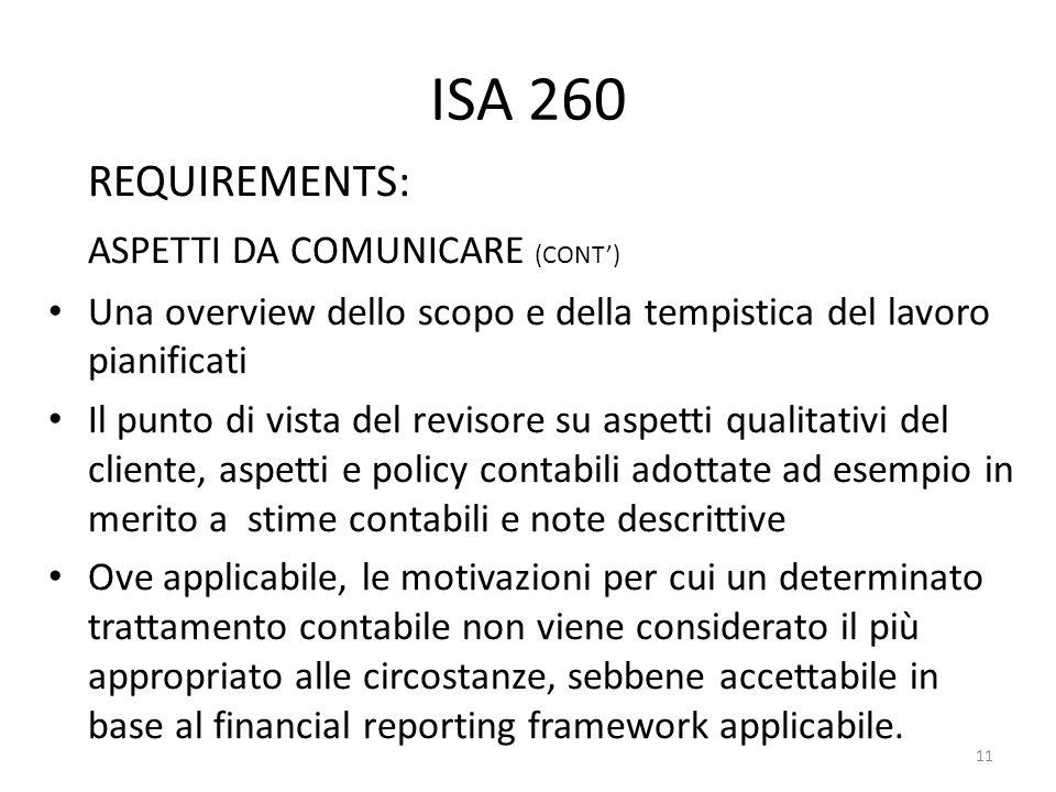 ISA 260 REQUIREMENTS: ASPETTI DA COMUNICARE (CONT')