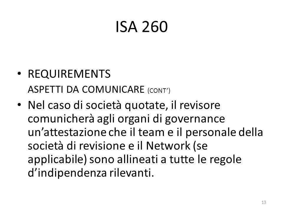ISA 260 REQUIREMENTS. ASPETTI DA COMUNICARE (CONT')