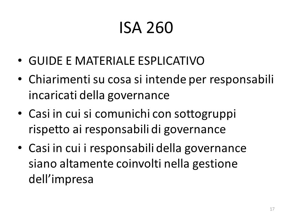 ISA 260 GUIDE E MATERIALE ESPLICATIVO