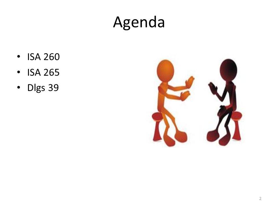 Agenda ISA 260 ISA 265 Dlgs 39