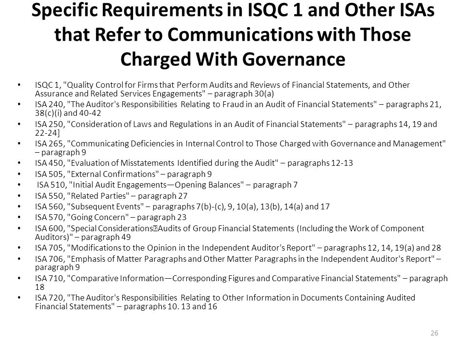 Specific Requirements in ISQC 1 and Other ISAs that Refer to Communications with Those Charged With Governance
