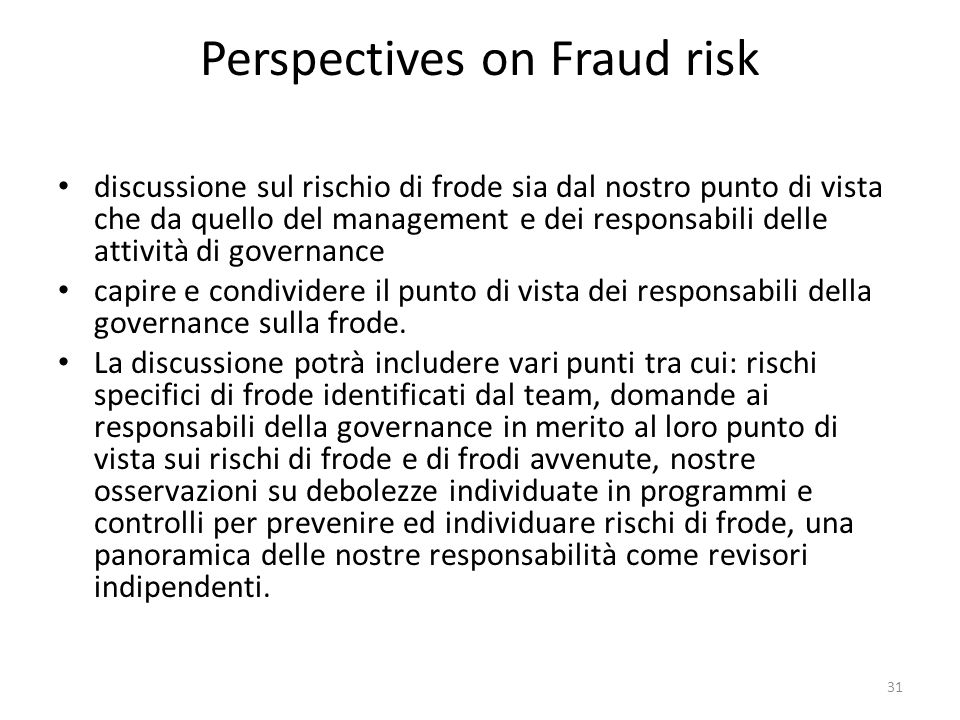 Perspectives on Fraud risk