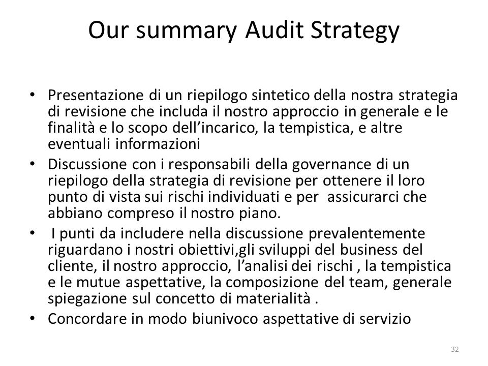 Our summary Audit Strategy